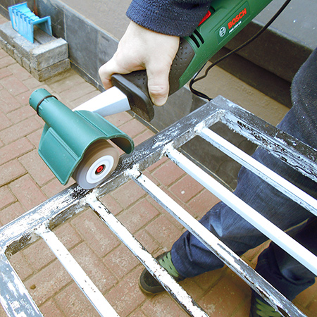 Bosch PRR 250 ES sanding roller repainting all the burglar bars and security gates