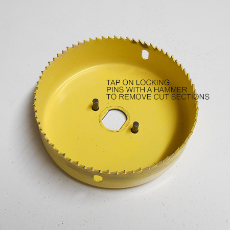 The locking pins hold the hole saw securely in place and reduce the possibility of slippage when in use.