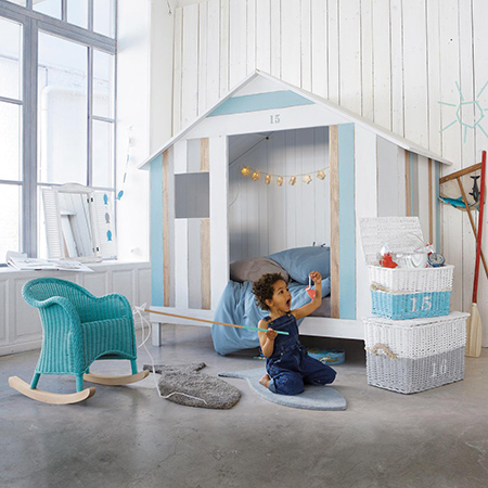 Making coastal style furniture for a child's bedroom beach hut bed