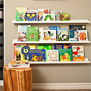 Book ledges for library wall or reading corner