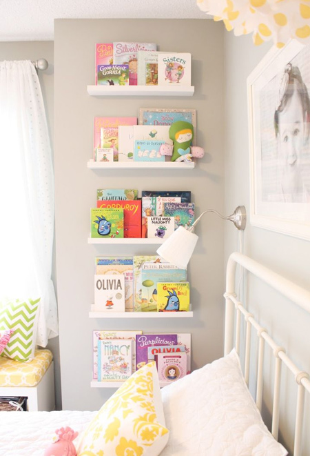 Make book ledges and set up a children's library wall