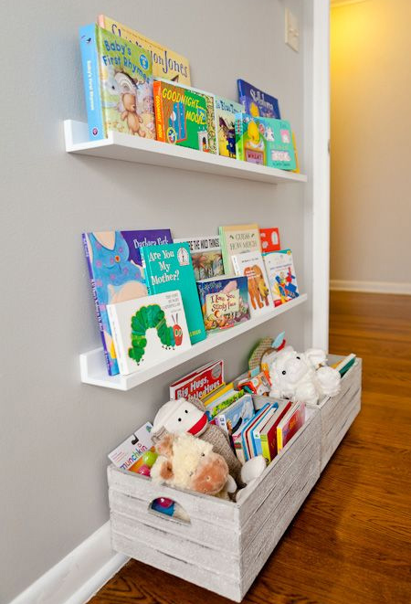 Make your own book ledges and set up a children's library wall