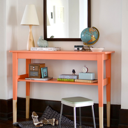 Turn average furniture into stunning statement pieces paint table legs in two colours