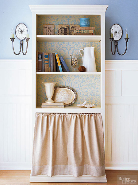 how to make a diy bookcase or bookshelf ideas with fabric skirt panel
