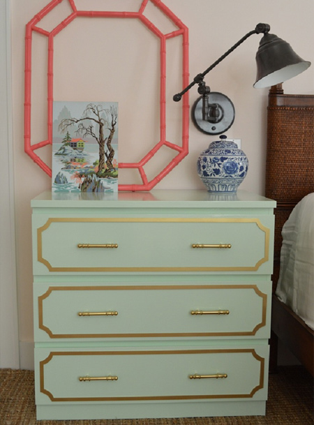ikea hack diy malm dresser with gold detail