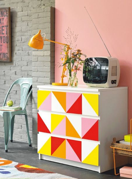 colourful dresser Have fun with colour and pattern using acrylic paint or spray paint