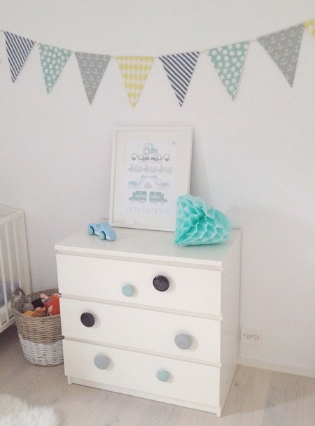 ikea hack malm dresser chest of drawers with colourful handles