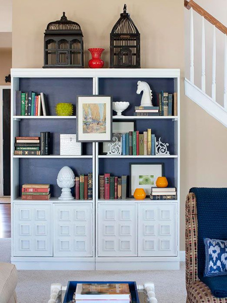 how to make a diy double bookcase or bookshelf ideas