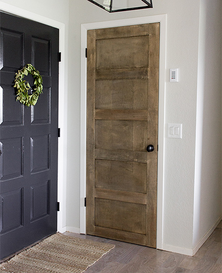 Plywood or MDF strips applied to interior doors add a new level of detail to plain hollow core doors
