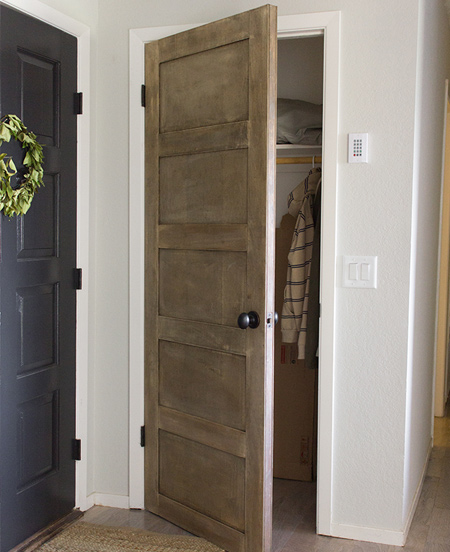 Plywood strips applied to interior doors add a new level of detail to plain hollow core doors.