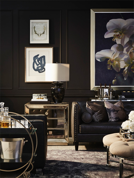 black walls are popping up in modern, traditional and contemporay homes as a way to introduce a new level of drama