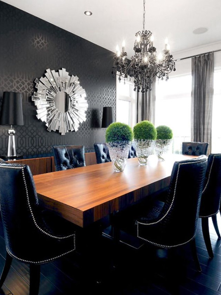 Black wallpaper is the perfect finishing touch for this formal dining room