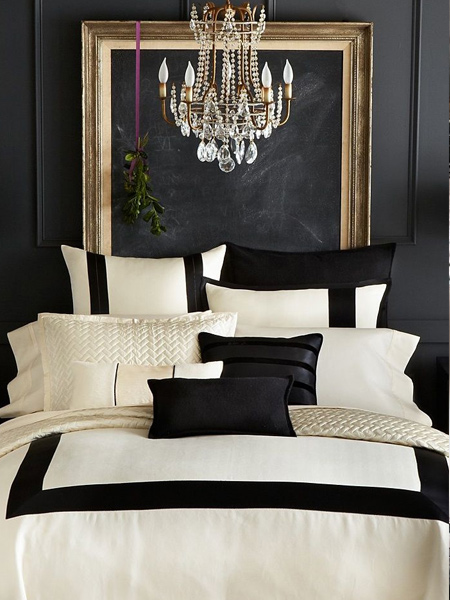 Use the power of contrast between black and white in a bedroom.