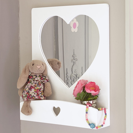 Heart mirror for little girl's bedroom - have mirrors cut to size at builders