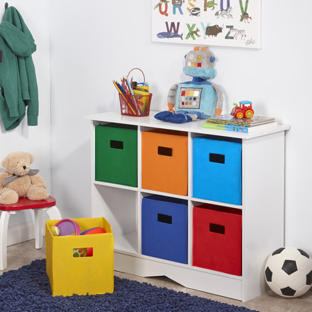 Colourful storage unit for a child's bedroom with recycled cardboard boxes sprayed with rustoleum 2x spray paint