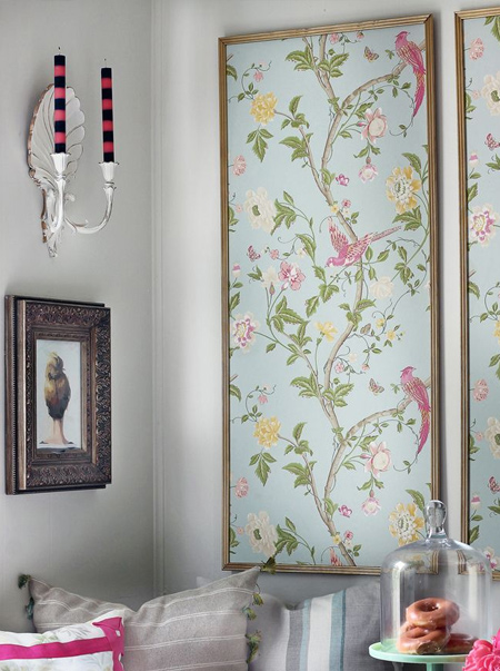 gold framed chinoiserie wallpaper panels