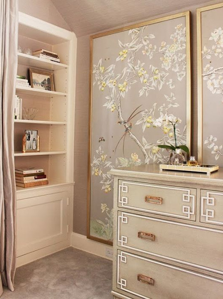 chinoiserie wallpaper panels on walls