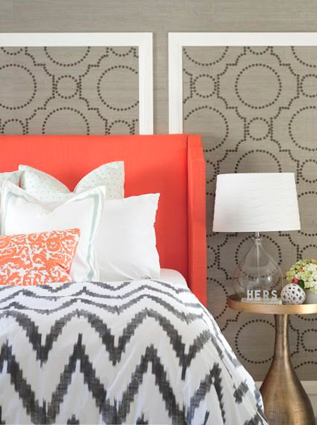 framed geometric wallpaper panels in bedroom