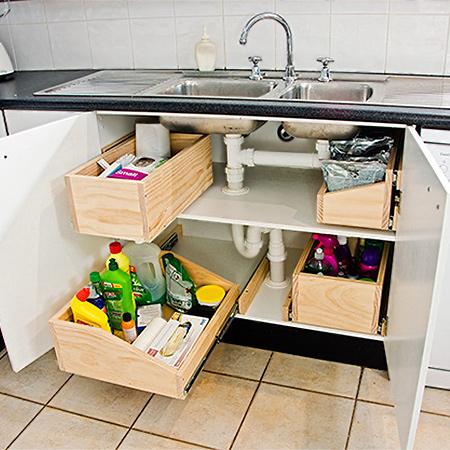 Home dzine kitchen practical undersink storage drawers - Practical kitchen drawers ...