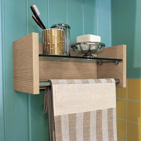 Wood bathroom shelf and towel holder