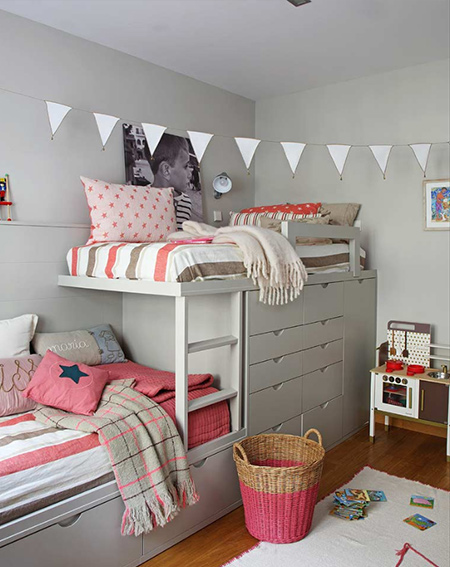 shared bedroom for boy and girl loft bed