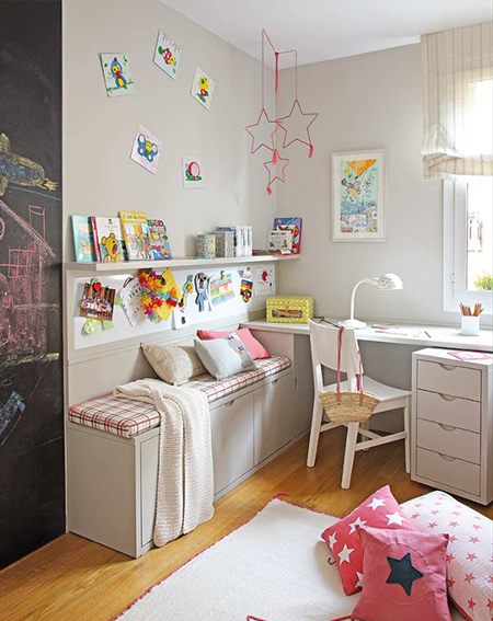 shared bedroom for boy and girl reading corner