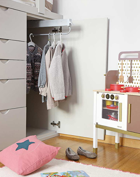 shared bedroom for boy and girl closet and drawers under bed