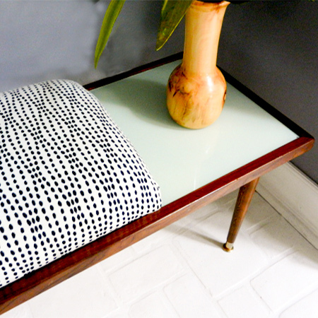 Re-purpose old furniture in new ways upholstered bench coffee table