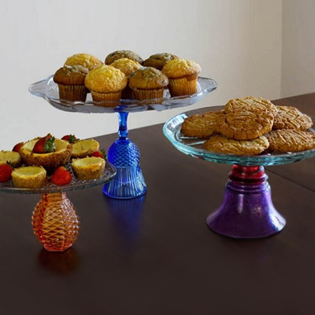 cake stands using glasses and glass plates