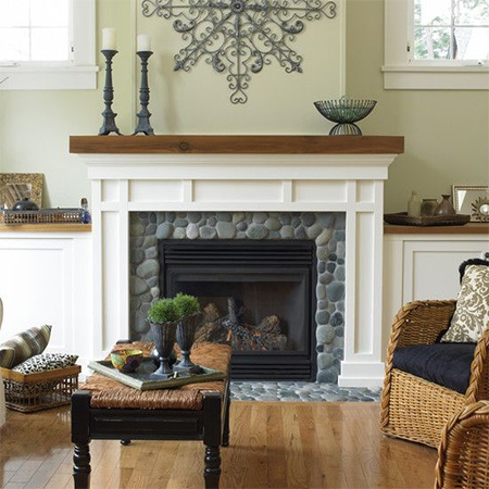 Tiles can bring a distinctive look to an otherwise dull fireplace.