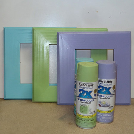 Trio of colourful 1-hour picture frames rust-oleum 2X spray paint