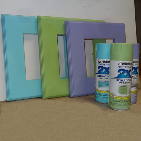 Trio of colourful 1-hour picture frames rustoleum 2X spray paint