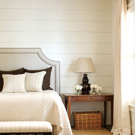 DIY white plank wall in a bedroom