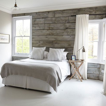 DIY plank wall in a coastal bedroom