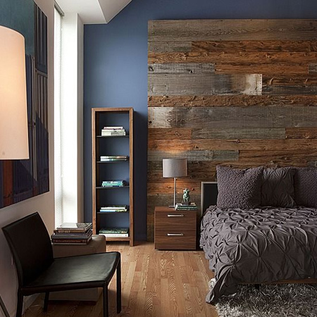 DIY plank wall panels in a bedroom