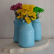 Recycled glass food jar vases