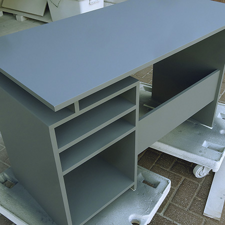 boys desk sprayed with bosch pfs spray gun and prominent paints ultra sheen paint