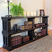 Rustic pine or reclaimed wood bookshelf