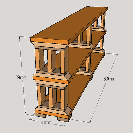 Rustic pine or reclaimed wood bookshelf
