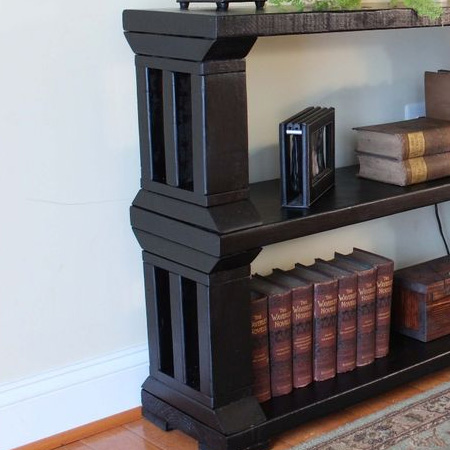 woodoc ebony gel stain pine or reclaimed wood bookshelf