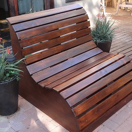 Buy Online: Garden Love Seat outdoor garden furniture in various wood tints