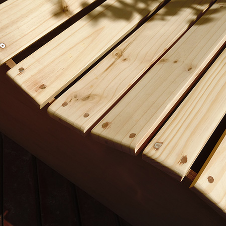 Garden love seat pine slat outdoor bench