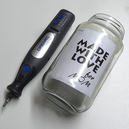dremel micro multitool to engrave on glass