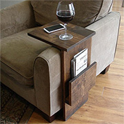 Armchair tray with book or magazine storage