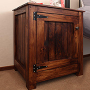 Bedside cabinet with tongue and groove