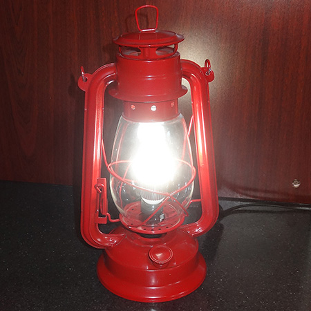 Turn paraffin hurricane lamps into LED lights