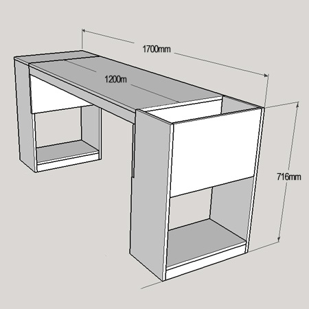 You can also modify the total length of the desk simply by reducing the length of the top and top supports.