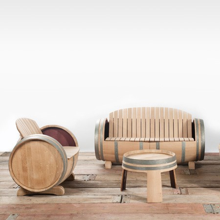 make garden or outdoor furniture from wine barrels for deck