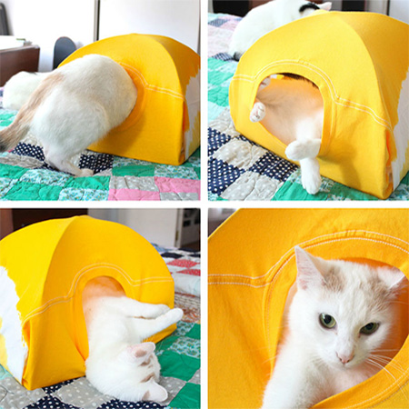 kitty tent is made using an old (or new) t-shirt, a couple of coathangers and a few inexpensive supplies