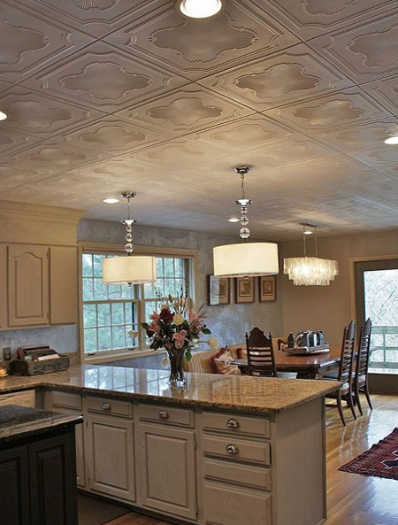Decorating ideas for a ceiling polystyrene tile over popcorn